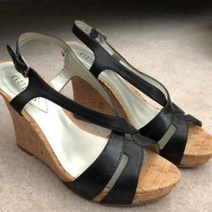 Guess black cork wedges